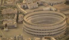 La mano di Costantino e l'arena del Colosseo, qui come appariva in origine, due restauri
