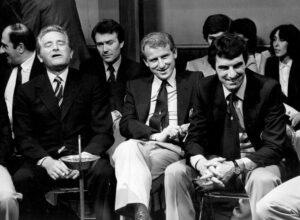 Boniperti nel 1981, vicino al tecnico Giovanni Trapattoni ed il portiere Dino Zoff